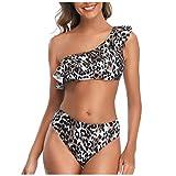 Ragazza Donna Una Spalla Completi Volant Reggiseno Slip Push Up Stampa Leopardo Costumi con Imbottito da Bagno Bikini Costume Coordinati Monokini Swimwear Set YanHoo
