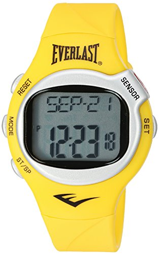 Everlast 'Heart Rate Monitor' Automatic Plastic and Rubber Fitness Watch, Color:Yellow (Model: EVWHR005YE)