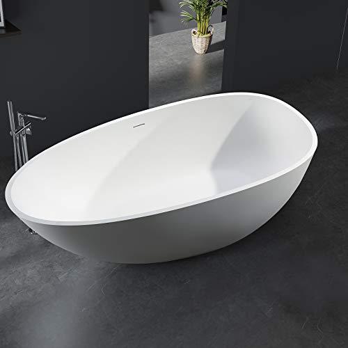 Freistehende Badewanne aus Mineralguss VELA STONE weiß - 180 x 90 cm - Solid Stone