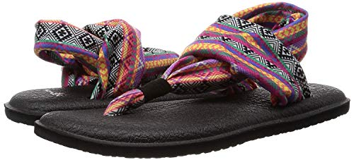 Sanuk Yoga Sling 2 Flip Flop para mujer, Negro (Rayas tribales color magenta.), 37 EU