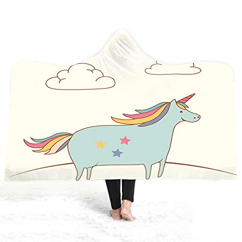 Decke Mit Kapuze,Winter Mit Kapuze Decke Weichen Warmen Magischen Mantel Plüsch Double Dick Cartoon Haarfarbe Unicorn Digital Printing Kinder Und Erwachsene Nap Decke Faul Decke,150 X 130 cm