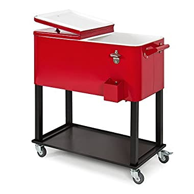 Best Choice Products 80-Quart Rolling Cooler Cart w/Bottle Opener and Catch Tray, Drain Plug - Red