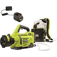 The RYOBI 18V ONE+ Cordless 1 Gallon Electrostatic Sprayer allows you to spray water soluble disinfectants and other cleaning solutions with the convenience and freedom of battery power. You can spray up to 30 gallons per charge with the included 18V...