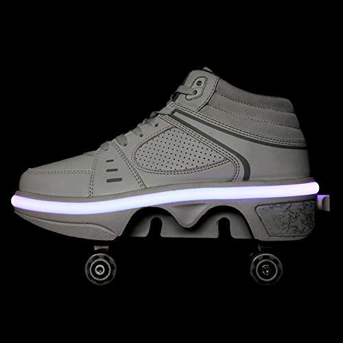 JY&WIN Patines de Ruedas,Rueda de deformación LED de Doble Fila 2 en 1 Polea extraíble Patines Luminosos Deformación de Patinaje Zapatos para Caminar automáticos Patines de Ruedas Invisibles,platea