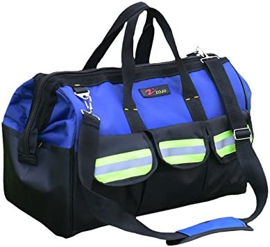 ZOJO Blue Reflective Tool Bags For Men 16 inch Wide Mouth 18 tool pockets product image