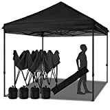 MEWAY 10' x 10' Commercial Canopy Tent Pop Up Instant Canopy Shelter with 100 Square Feet of Shade, Canopy Party Tent Sun with Wheeled Bag, x4 Sandbags,x4 Tent Stakes (Black)