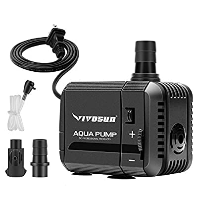 VIVOSUN 210GPH Submersible Pump(800L/H, 8W), Ultra Quiet Water Pump with 3.3ft High Lift, Fountain Pump with 5ft Power Cord, 2 Nozzles for Fish Tank, Pond, Aquarium, Statuary, Hydroponics