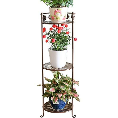 Jardinière Art de fer Etagère de rangement en triangle, 3 couches Au sol de style européen Intérieur et extérieur 3 couleurs (Couleur : C, taille : 29.5 * 85CM)