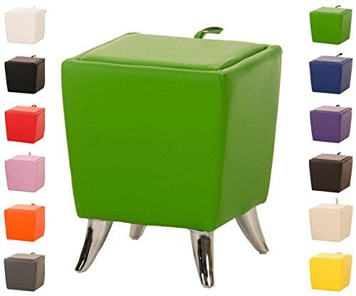 Taburete Puff De Almacenamiento Roxy I Taburete Reposapiés Tapizado En Simil Cuero I Otomana De Almacenaje Moderna I Color: Verde Claro