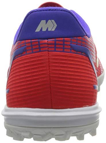 Nike Unisex Vapor 14 Academy TF Soccer Shoe, BRT Crimson MTLC Silver Indigo Burst Rage Green, 9 UK