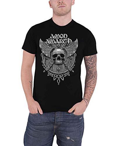 Amon Amarth T Shirt Gris Skull Band Logo Nuevo Oficial De Los Hombres Size L