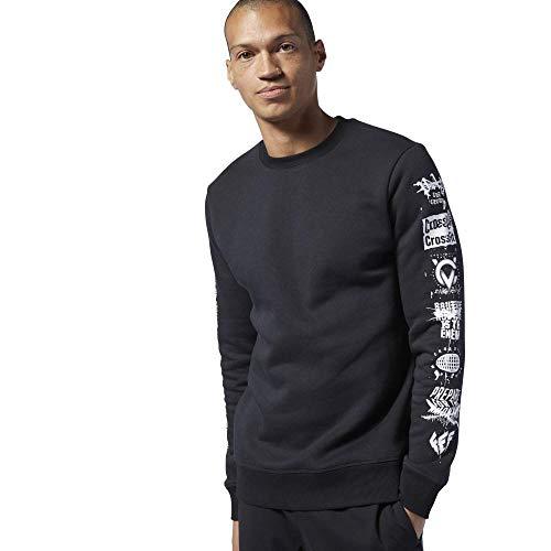 Reebok Herren Rc Sleeve Icons Crew Sweatshirt, Schwarz, M