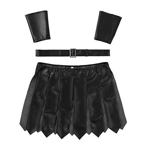 IEFIEL Disfraz de Gladiador para Hombre Falda Gladiador Brazaletes Cinturón Cuero PU Disfraces de Fiesta Cosplay Carnaval para Adultos Clubwear Negro Large