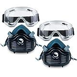 Mascara para Pintura (Media Cara) RHINO RH-6021 (Pack Doble) Reutilizable Antipolvo con 10 Filtros de Repuesto, Guantes y Gafas de Protección | Protector Facial contra Polvo, Pintura, Lijado y Más