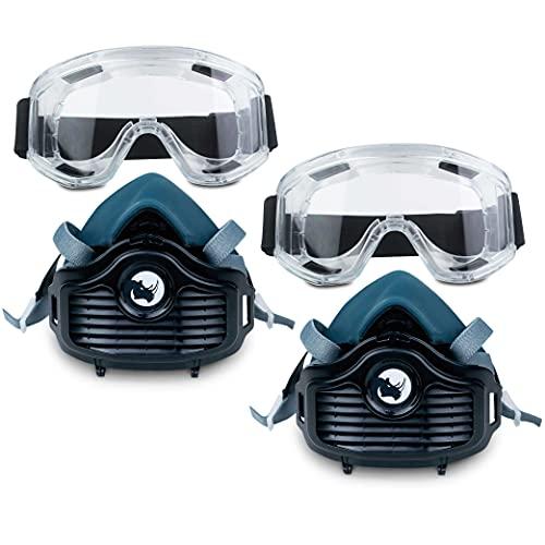 Mascara para Pintura (Media Cara) RHINO RH-6021 (Pack Doble) Reutilizable Antipolvo con 10 Filtros de Repuesto, Guantes y Gafas de Protección | Protector Facial contra Polvo, Pintura, Lijado y Más ✅