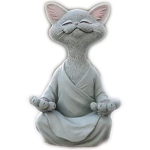 Happy Cat Buddha - wunderliche Katze Buddha Statue Sammlerstück, meditierende Katzenfiguren Yoga Statue, Zen Cat Relaxed Pose Skulptur für Home Outdoor Rasendekor (L, Grau)