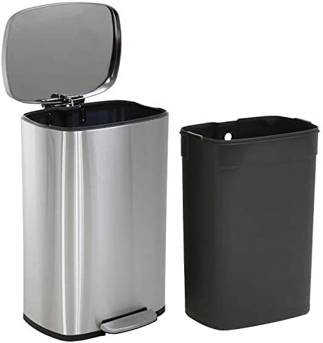 Kitchen Trash Can with Lid for Office Bedroom Bathroom Step Trash Bin Fingerprint-Proof Garbage Bin Brushed Stainless...