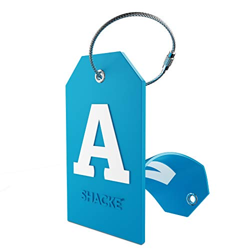 Initial Luggage Tag with Full Privacy Cover and Stainless Steel Loop (Aqua Teal) (A)