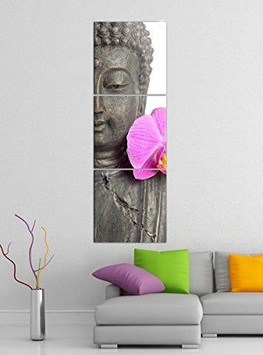 Leinwandbild 3tlg Buddha statur lilien blüte Asien Bilder Druck auf Leinwand Vertikal Bild Kunstdruck mehrteilig Holz 9YA3914, Vertikal Größe:Gesamt 40x120cm