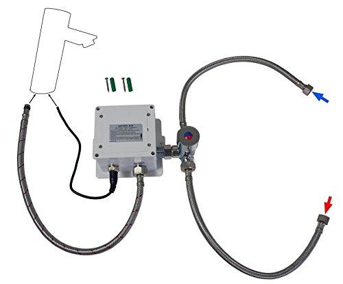 Sanlingo – Infrarotsensor-Waschtischmischer, Temperaturregler, Batterieversorgung, langer Auslauf,  Gold - 5