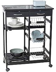 WENKO Wózek kuchenny Bon Appetit, z kółkami i szklanym blatem z motywem, idealny jako wózek do serwowania lub regał kuchenny, wykonany z płyty MDF, 67 x 86,5 x 35 cm, czarny