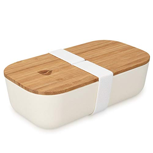 Navaris Bento Box Lunchbox mit Bambus Deckel - Brotdose 1 Fach 700ml luftdicht - Brotbox für Kinder und Erwachsene - Gummiband Verschluss - Weiß