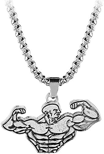 TTDAltd Necklace Jewelry Trendy Gym Fitness Dumbbell Barbell Men Necklace Chain Moon Pendants & Necklaces for Men Sports Jewelrynecklace for Women Men Gifts
