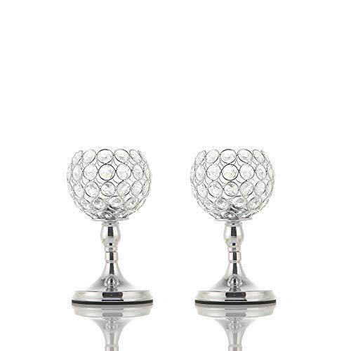 VINCIGANT Kerzenhalter Silber, Kerzenleuchter Vintage Silber Deko, Kristall 2er 20cm&20cm Höhe