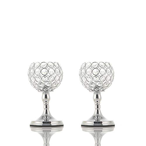 VINCIGANT Silver Crystal Bowl Candle Holder Sets for Dining Room Decorative Centerpieces,Modern House Decor Gifts for Anniversary Celebration,8 Inches Tall