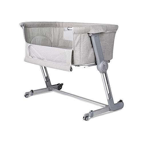 WJMLS Cuna del bebé, Cuna portátil Incluye Bolsa de Viaje, de 1,2' colchón Firme, Hoja Transpirable y 7 de Altura Ajustable, Cama de bebé cómodo con Ruedas
