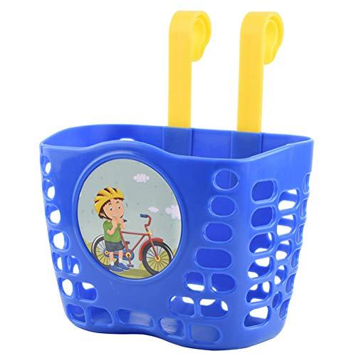 ABOOFAN Cesta delantera de bicicleta para niños, contenedor de almacenamiento de plástico, cesta de scooter (azul oscuro)