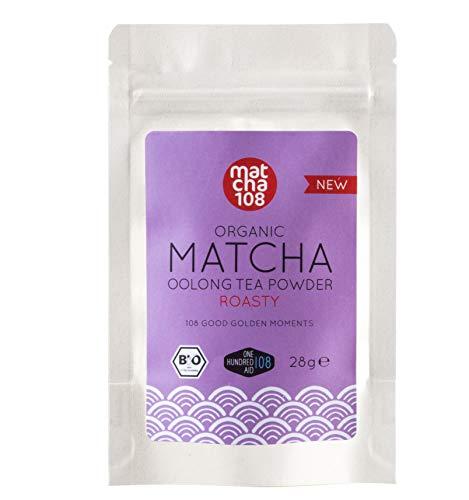 Matcha Oolong Tee, schmeckt röstig wie ein Kaffee. Perfekt als Matcha-Latte, Chai-Latte, Smoothie, Oolongtee und Eis - Bio Matcha Pulver 108, [Organic Matcha Oolong Tea - Roasty Taste 28g]