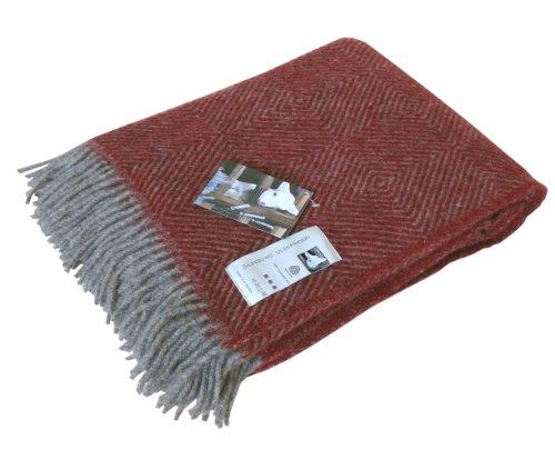 Silkeborg Extralange graue Wolldecke mit roten Fischgrat-Streifen aus 100% skandinavischer Schurwolle, ca 240x140cm mit Fransen, 1100g
