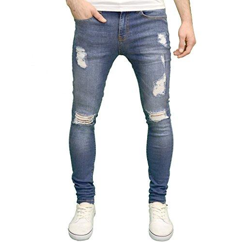Enzo - Pantalones vaqueros pitillo para hombre, rasgados y muy elásticos