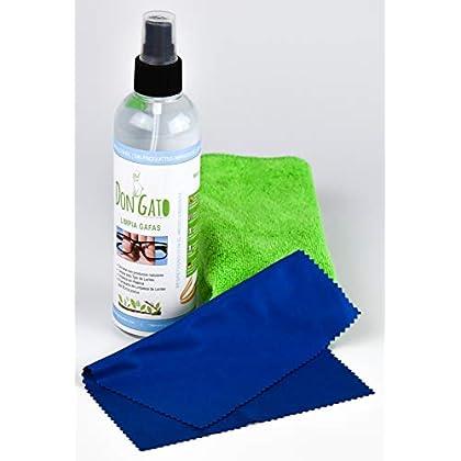 Don Gato – Liquido Limpiador en Spray para Gafas y Lentes (250 ml) + 2 paños de Micro Fibra. Fabricado en España con…