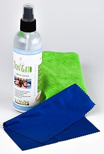 Don Gato - Liquido Limpiador en Spray para Gafas y Lentes (250 ml) + 2 paños de Micro Fibra. Producto Natural, sin Alcohol, sin amoniaco. Fabricado en España