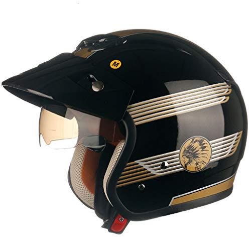 NJ helm- semi-gecoate unisex helm, regen- en uv-beschermhelm, bruine lens Large Bright Black A