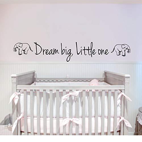 Dream big, Little one Wall Decal - Dream Big Little One withElephants - Elephant Decal - Turtle Wall Decal - Baby Decal - Baby Room Gift