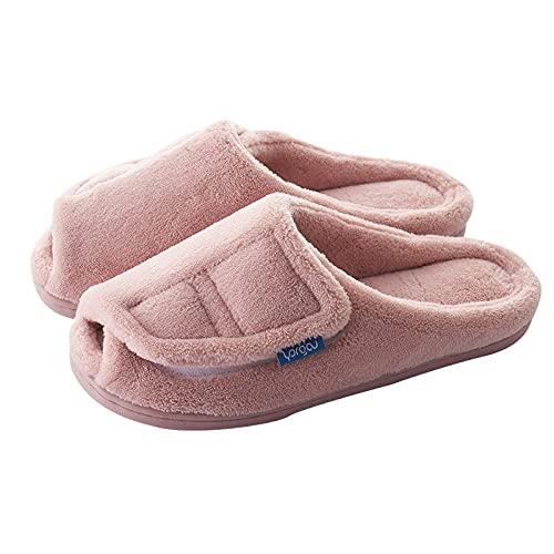Edema - Zapatillas de artritis hinchadas, zapatillas de algodón ajustables con palillo mágico, aletas coral cálidas, polvo poco profundo_39-40, zapatos diabéticos de espuma viscoelástica para hombre