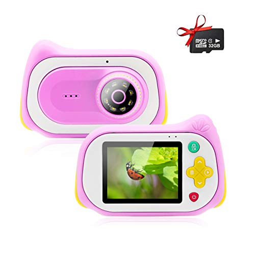 Veroyi Mikroskop Kamera, 15MP Digital Mini Kamera mit 200X Lupe 32GB Micro SD Karte Mikroskop Camcorder Video Player Recorder für Indoor Outdoor (Pink)