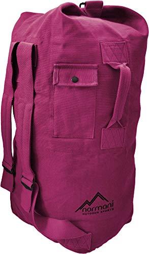 normani Seesack aus reißfestem Canvas-Material mit Doppelgurt und Metallverschluss - 100% Baumwolle Farbe Pink Größe 90 Liter