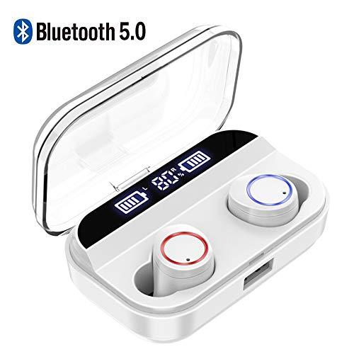 Braveking1 Auriculares Bluetooth, Auriculares Inalámbricos Deportivos Bluetooth 5.0 IPX7 Impermeable 240 Horas Autonomía con 4000mAh Caja de Carga Mic Cascos Bluetooth Deporte para iOS Android,Blanco