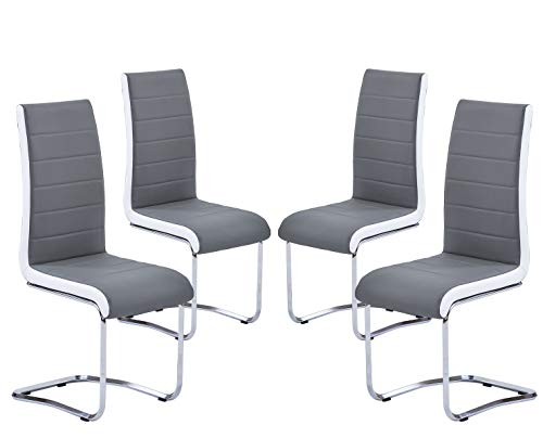 Modern Dining Chairs Set of 4, Grey White Side Dining Room Chairs, Kitchen Chairs with Faux Leather Padded Seat High Back and Sturdy Chrome Legs, Chairs for Dining Room,Kitchen, Living Room