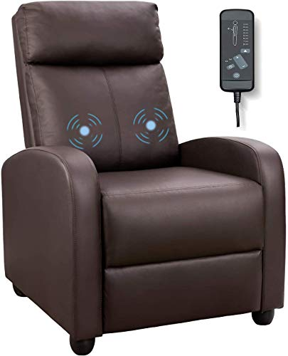 Tuoze Recliner Chair Massage Modern PU Leather Recliners Chair Adjustable Home Theater Seating with Sofa Padded Cushion (Brown)