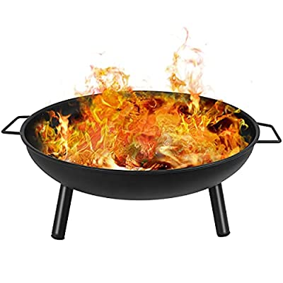 Portable Fire Pit With Cooking Grill & Wood Grill & Poker, Barbecue Brazier Dia:58cm Fire Pits Bowl With Mesh Spark Screen Cover For Outdoor Camping Bonfire/Bbq/Garden Patio Heater by Bilisder