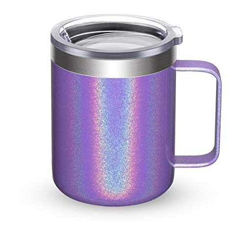 Civago Stainless Steel Coffee Mug Cup with Handle, 12 oz Double Wall Vacuum Insulated Tumbler with Lid Travel Friendly (Violet Shimmer, 1 Pack)
