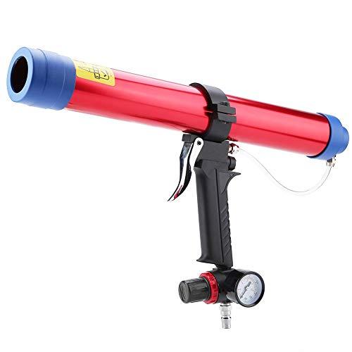 KP-442 Pneumatische Glaskleber-Dichtungspistole, Kartuschenpistole aus Aluminiumlegierung Kartusche Luftpistole 300~600 ml mit 8 Kartuschenköpfen für elektronische Geräte Autoteile