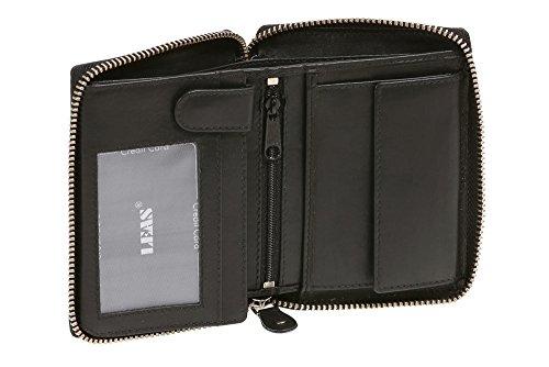 LEAS Reißverschlussbörse Echt-Leder, schwarz Zipper-Collection