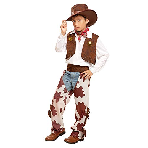 My Other Me Me-200835 Disfraz de vaquero para niño, color blanco y marrón, 7-9 años (Viving Costumes 200835)