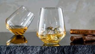Topkapi Whisky Glas McDalford, mit Kreiseleffekt, für Whisky, Cocktail, Saft, Wasser, Drinks, H ~10,6 cm, V ~420 ml, 2 Stück
